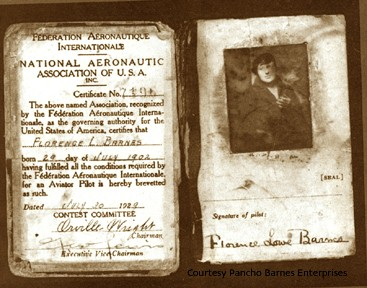 Pancho Barnes pilots license signed by Orville Wright
